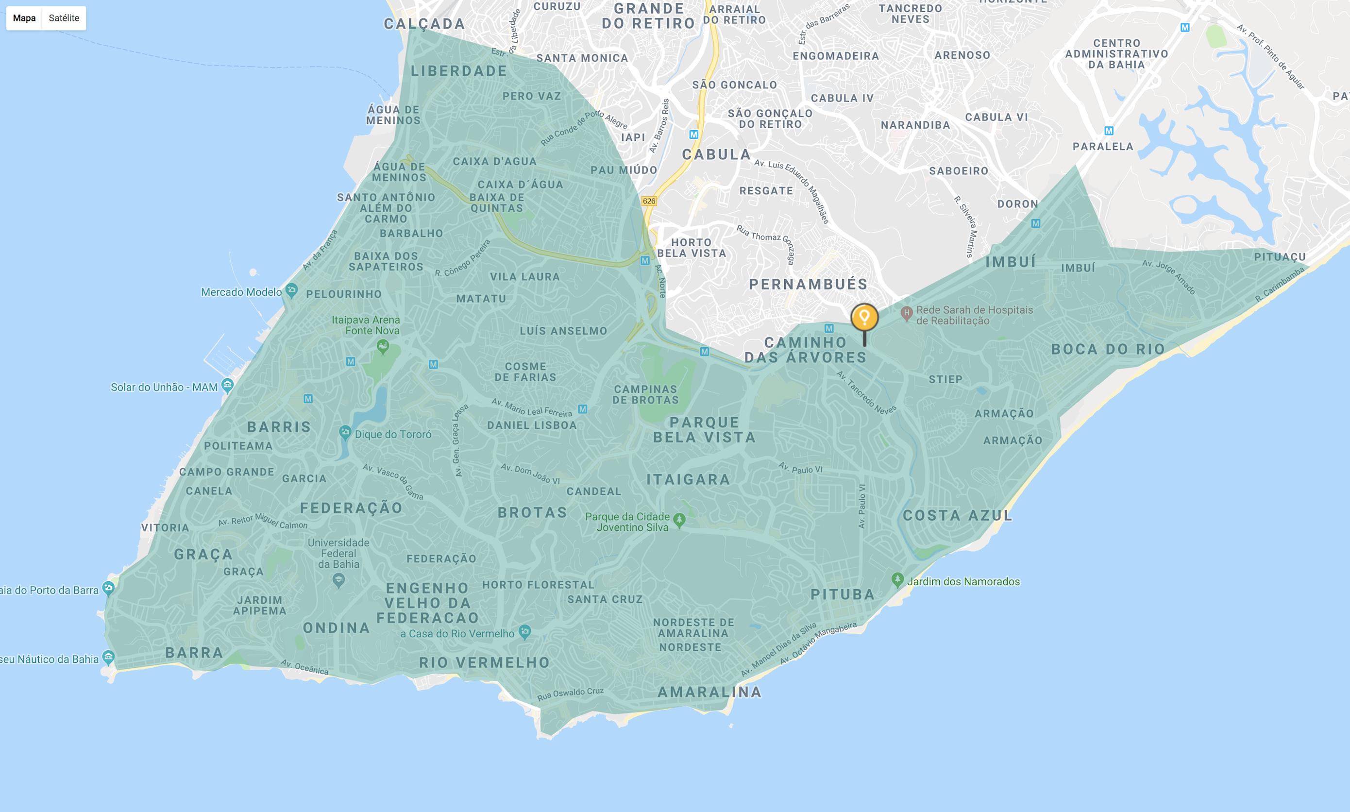 Região de entrega do Glovo em Salvador